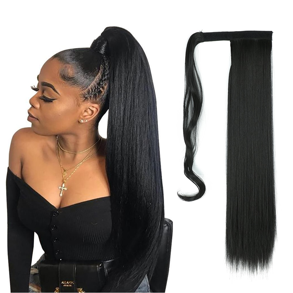 Natifah Synthetic Long Straight Wrap Around Clip In Ponytail Hair Extensions Wholesale Heat Resistant For Women 1B Color Hair