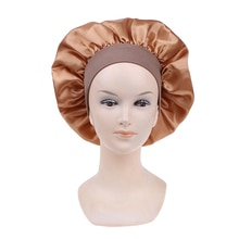 1pc Adjust Solid Satin Bonnet Hair Styling Cap Long Hair Care Women Night Sleep Hat Silk Head Wrap S