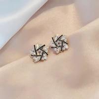 korean new shiny cross spiral stud earrings for women girls elegant cute jewelry brincos accessories