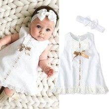 Hübsche prinzessin sleeveless feste bogen spitze kleider bogen stirnbänder infant baby mädchen geschenk geburtstag kleidung set stücke neugeborenen 0- 24M
