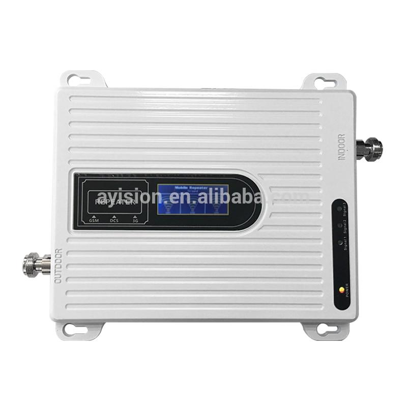 Precio de fábrica 2g 3g 4g Mini Tri Band repetidor 900/1800/2100mhz amplificador de señal/amplificador transceptor antena 433 mhz