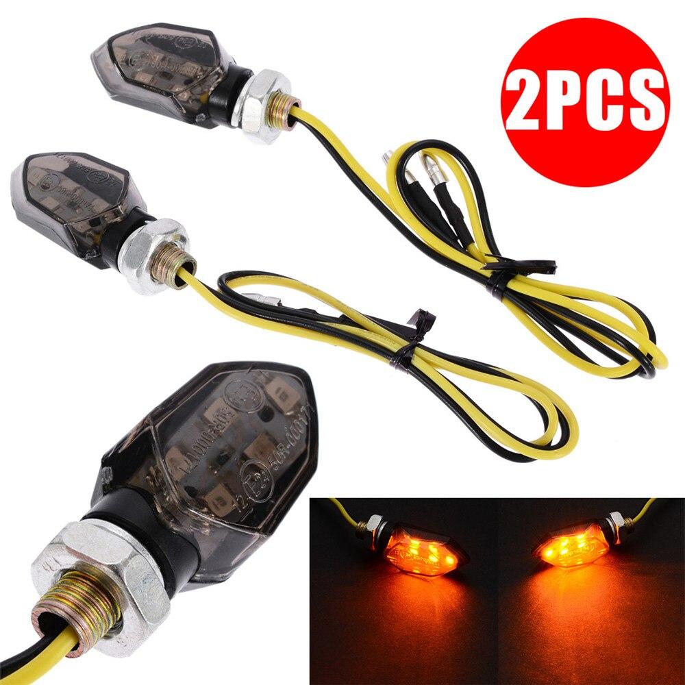 2 uds., Mini indicadores LED para motocicleta, luz de señal de giro, lámpara intermitente ámbar, Super brillante Universal