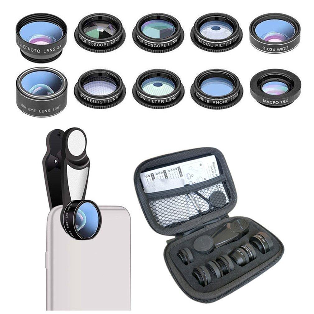 Lente ojo de pez 10 en 1, lente ojo de pez Macro de gran angular, Zoom para iphone 7 8 plus XS MAX X, Kit de lente de cámara de teléfono móvil