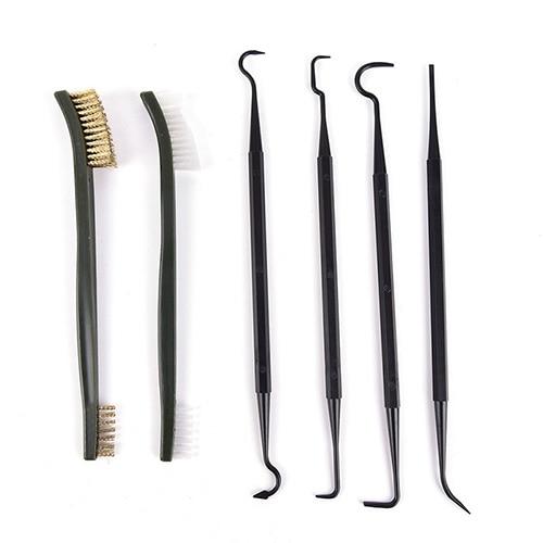 Juego de escobillas de nailon de doble punta, 6 uds., limpiador portátil de tubos para Rifle, herramienta de limpieza Universal para caza y caza