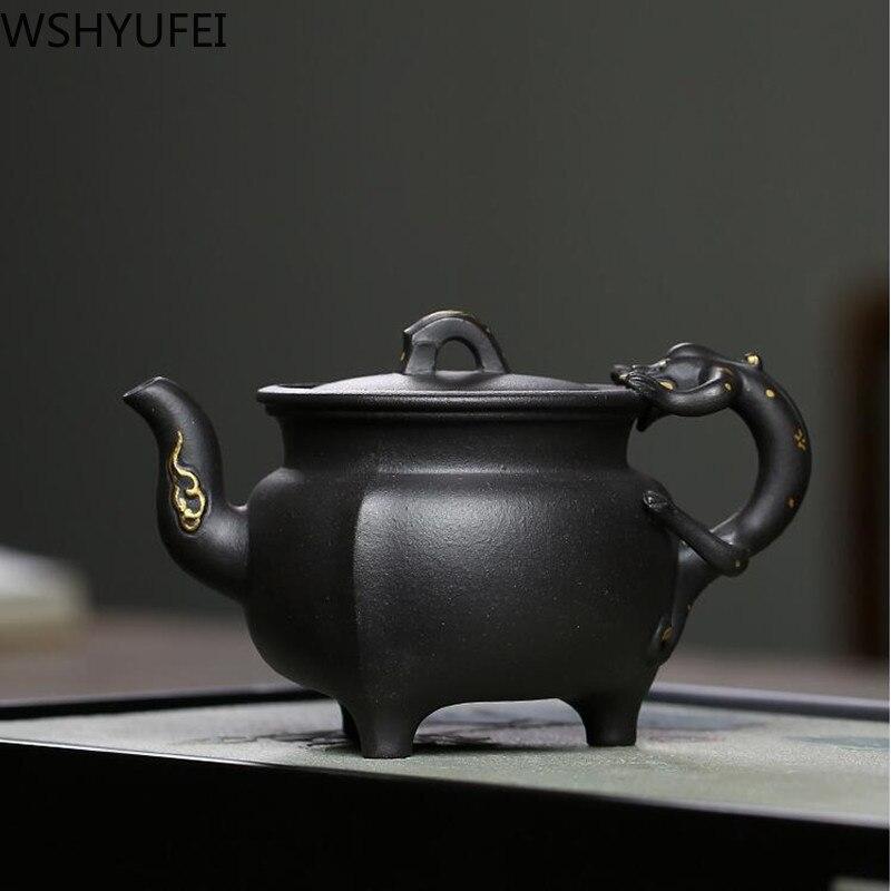 Yixing-إبريق شاي من الطين الأرجواني ، صناعة يدوية ، غلاية تجميل ، 220 مللي
