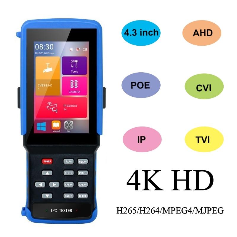 ipc 9310 poe wifi 4 3 5 in one touchscreen cctv tester for ipc analog camera ipc 1080p ahd cvi tvi bnc network cable tester wifi 4.3''Touch screen 5 in 1 CCTV Tester for IPC 5MP TVI/CVI/Analog Camera/wifi/TF BNC/12V OUT/RS485 PTZ /Net Cable Tester