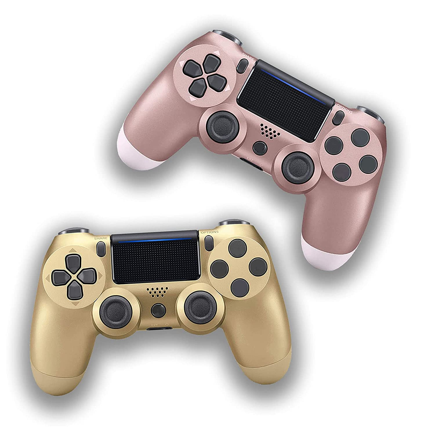 2 Pack-Game Controller for PS4, Wireless Controller for PS4 with Dual Vibration Game Joystick(Rose Gold and Gold)