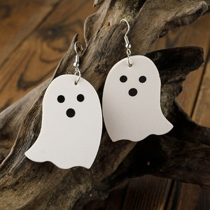 2021 Wholesale Cross-border Halloween Earrings Wild Personality Pumpkin Ghost Hat Leather Earrings Halloween Accessories
