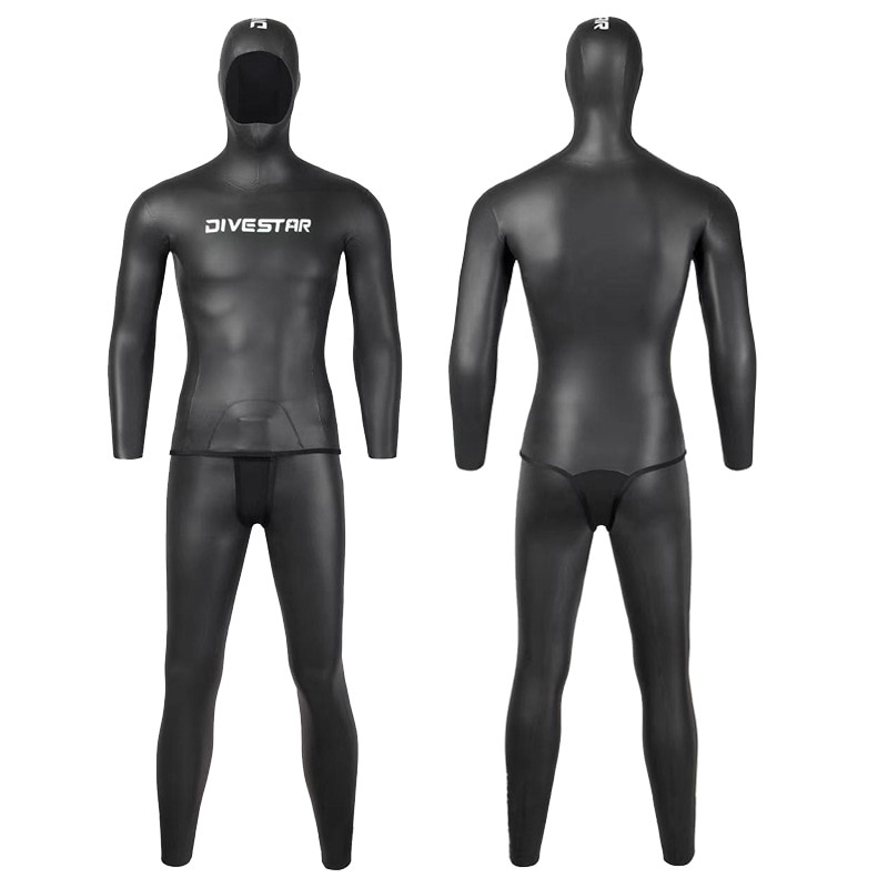3MM Neoprene Open Cell PU Water Sports Diving Suit Full Body Scuba Hunting Hooded Two Pieces Snorkeling Spearfishing WetSuit