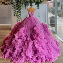 Arabic Purple Puffy Evening Dresses For Weddings Pearls Prom Dress Dubai Tiered Tulle Party Night Go