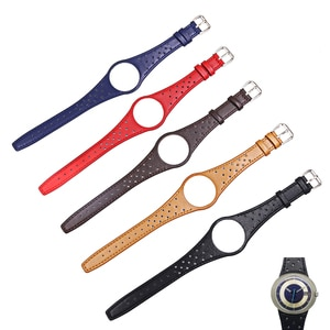 CARLYWET Red Blue Brown Black Khaki Real Calf Leather Watch Band with silver steel Buckle For Omega Dynamic