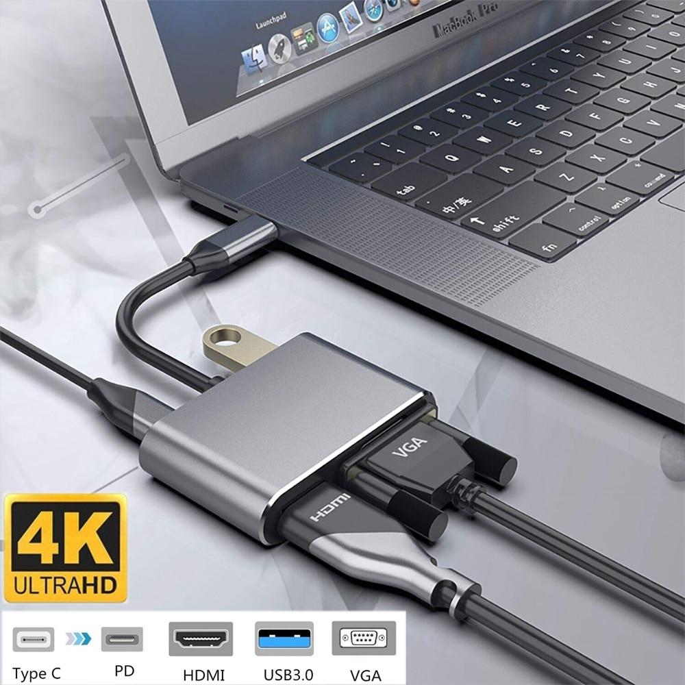 4 в 1 USB C HDMI Type c к HDMI 4K адаптер VGA USB3.0 аудио видео конвертер PD 87W быстрое зарядное устройство для Macbook pro Samsung s9 s10