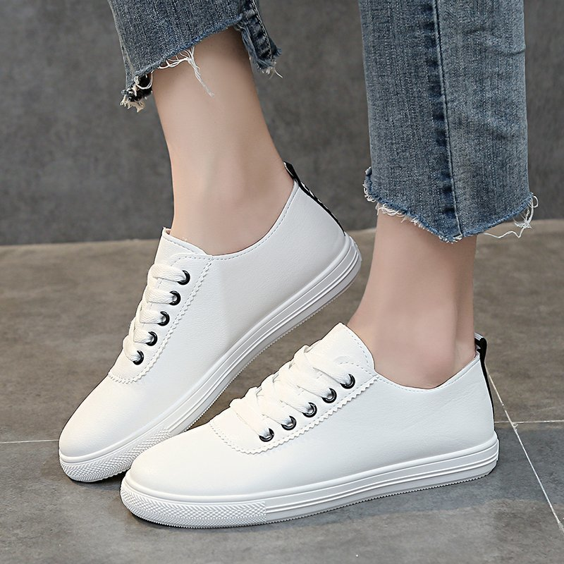 Womens Casual Flat Shoes Fashion Leather White Simple Comfortable Spring/Autumn Lace up Walking