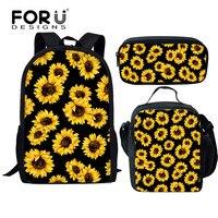 FORUDESIGNS Children School Bags Set Girls Schoolbag Primary Sunflower School Backpack Kids School Backpack Set Mochila Infantil