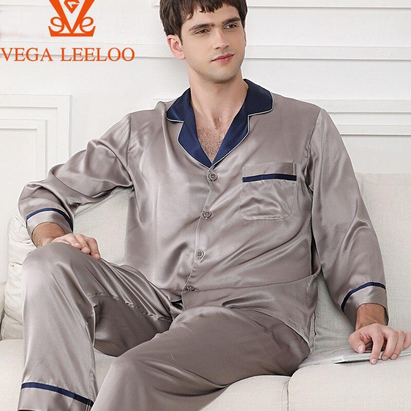 100%  Silk men Two Pieces pajamas Luxury Solid Color Silk Sleepwear  for Men