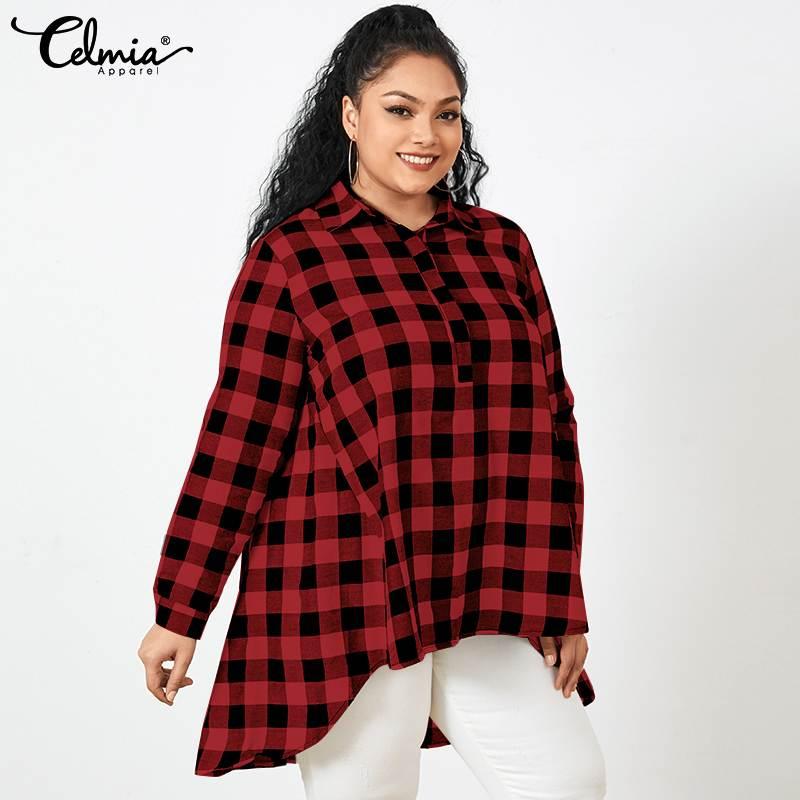 Casual 2021 Autumn Long Tops Vintage Blouses Celmia Women Asymmetrical Lapel Plaid Shirts Loose Long Sleeve Tunic Plus Size 5XL