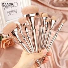 IMAGIC 9 pièces Kit de pinceaux de maquillage en Nylon souple brosse de mélange de cheveux poignée métallique Maquillaje professionnel ensemble doutils Oogschaduw