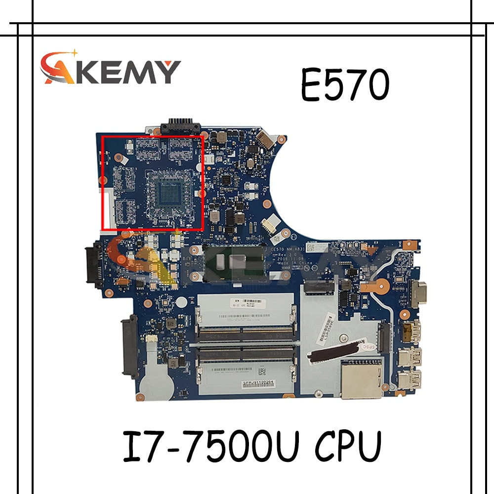 Akemy EC570 mm-a831 لوحة mainboard لينوفو ثينك باد E570 E570c اللوحة المحمول CPU I7-7500U اللوحة 100% اختبار OK