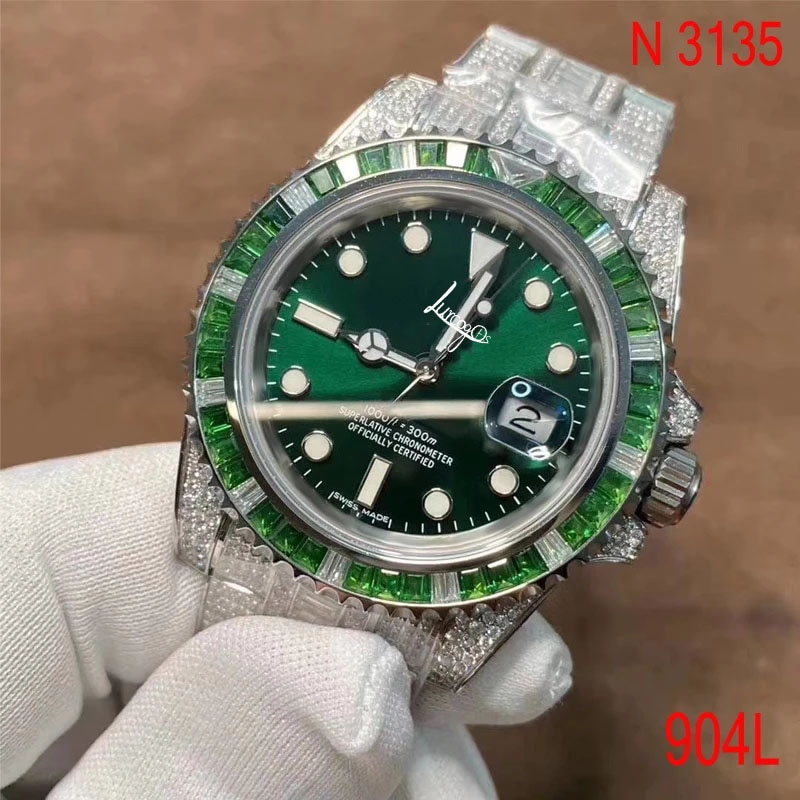 Designer Watch Tourbillon Watch Green Submariner Full Diamond Buckle Sapphire Glass Automatic ETA Noob 3135 Movement 1: 1 Ro-lex