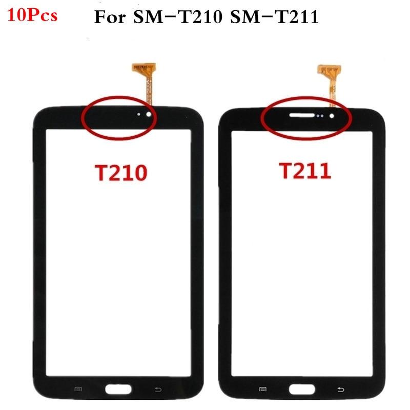 "10 unids/lote 7,0 ""pantalla táctil para Samsung Galaxy Tab 3 7,0 SM-T210 SM-T211 T210 T211 Panel táctil digitalizador Sensor de vidrio con logotipo"