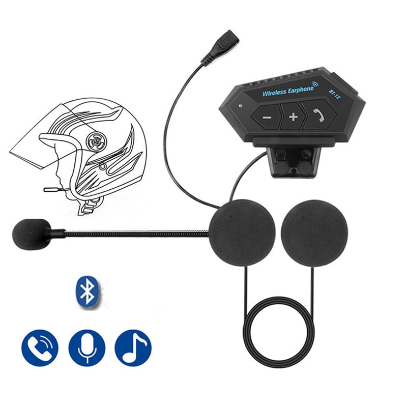 Motorcycle Bluetooth 4.1 Helmet intercom Wireless hands-free telephone call Kit Stereo Anti-interference Bluetooth Headset Music