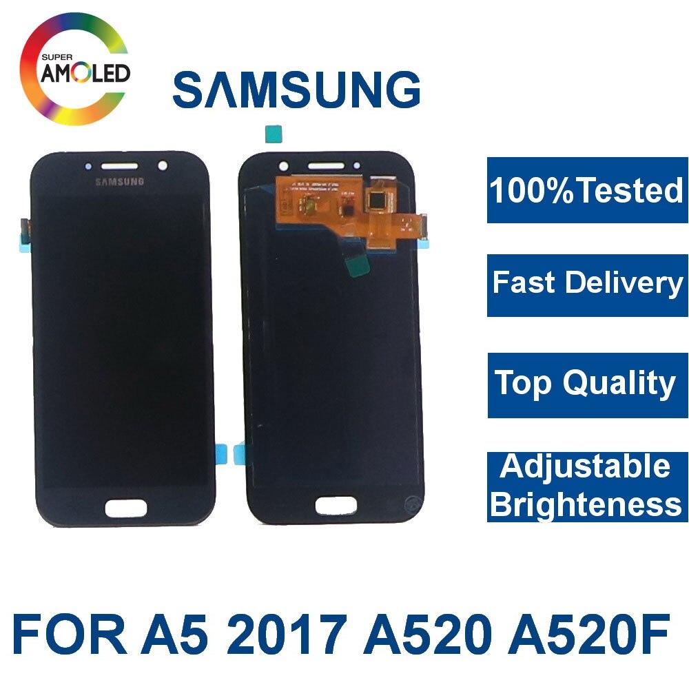 100% testado super amoled lcd para samsung galaxy a5 2017 a520 a520f SM-A520F display lcd de tela toque digitador assembléia