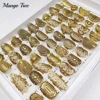 20pcslots vintage antiques gold carved flower leaf hollow ring punk ethnic tribe finger rings for women party gift jewelry
