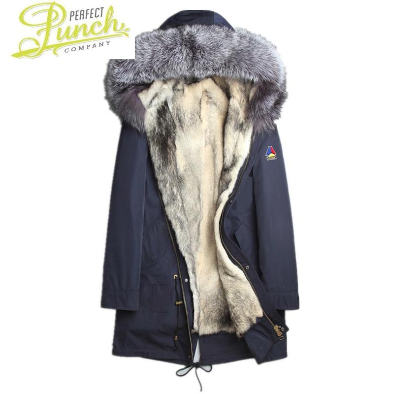 معطف الطبيعي الذئب الحقيقي بطانة سترة الشتاء الرجال الثعلب الفراء طوق سترة دافئة ستر Winterjas Heren L18-4001 Y1740