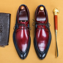 Handmade Men's Pointed Toe Mixed Color Oxfords Genuine Leather Dress Office Shoes Business Wedding F