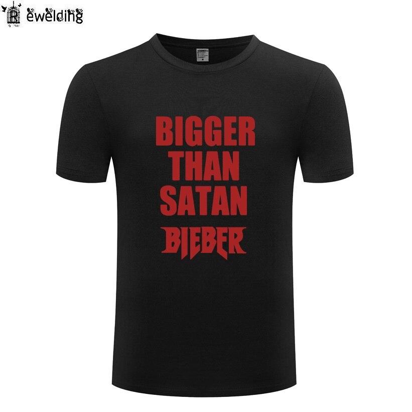 Camiseta de hip hop de Justin Bieber más grande que Satán para hombre camisetas de algodón de manga corta para hombre Camiseta de Streetwear Homme camisetas