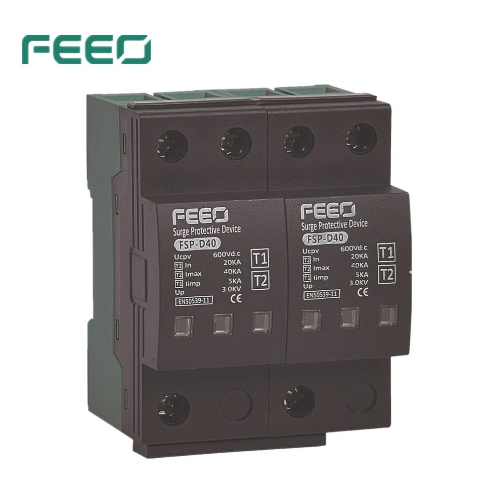 FEEO-جهاز حماية الحمل الزائد ، 2P ، 600V DC ، SPD ، النوع 1 2 DC ، 7KA