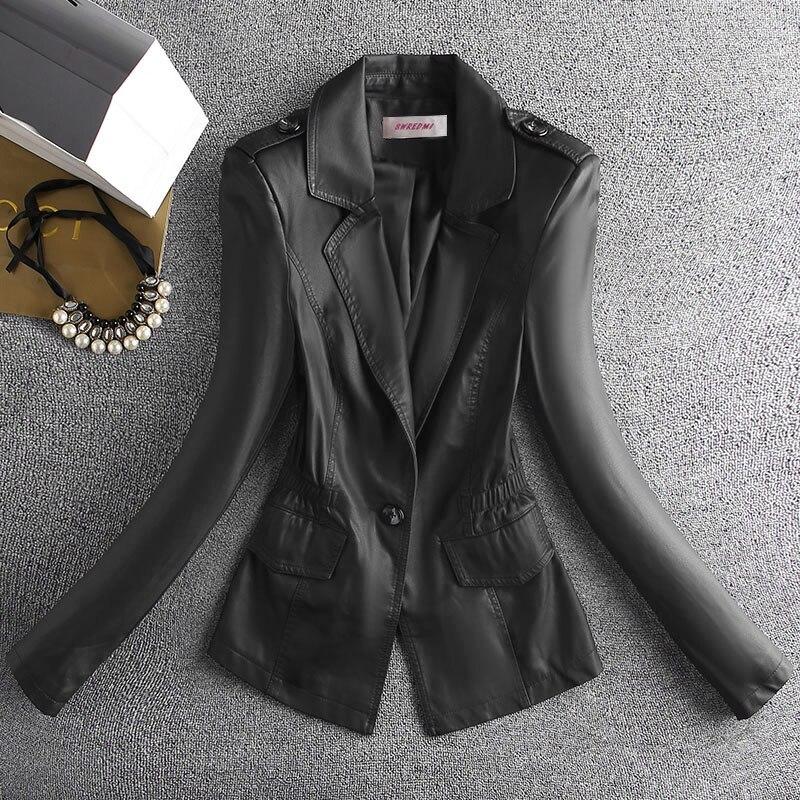 SWREDMI-جاكيت جلدي نسائي ، نحيف ، زر واحد ، بدلة ، معطف ، موضة ، ملابس خارجية ، ربيع-خريف