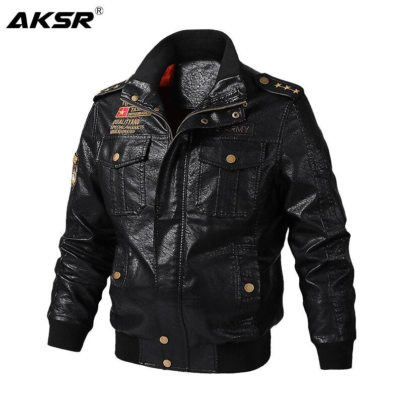 AKSR 2019 الخريف والشتاء الرجال سترة جلدية للدراجات النارية سميكة معطف دافئ عالية الجودة ملابس خارجية فو الفراء الذكور جاكيتات