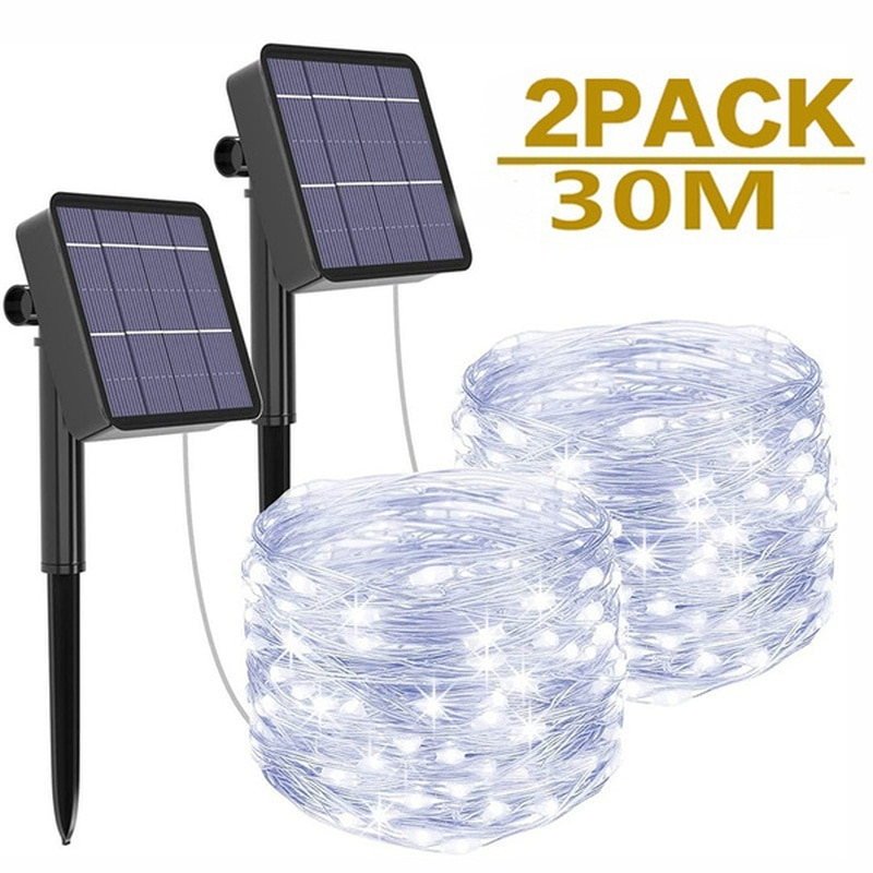 Led Outdoor Solar String Lights Fairy Holiday Christmas For Christmas, Lawn, Garden, Wedding, Party and Holiday(1/2Pack)