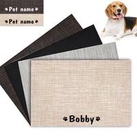 Персонализированный коврик для кормления домашних животных, водонепроницаемая миска для собак, коврик с рисунком имени, легко чистится, по...
