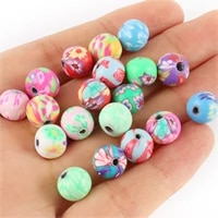 50100pcs round polymer clay flower pattern printing beads loose beads mix colors for making jewelry diy bracelet necklace