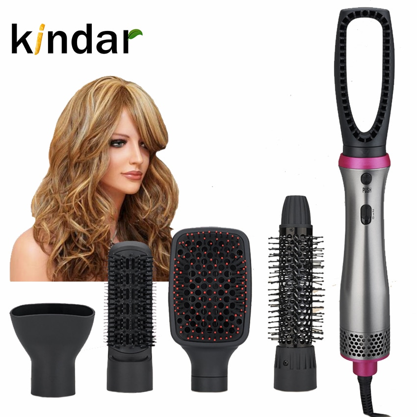 Kindar 5 IN 1 One Step Hair Dryer Multiple Hot Air Brush Hair Straightener Comb Curling Brush Hair S