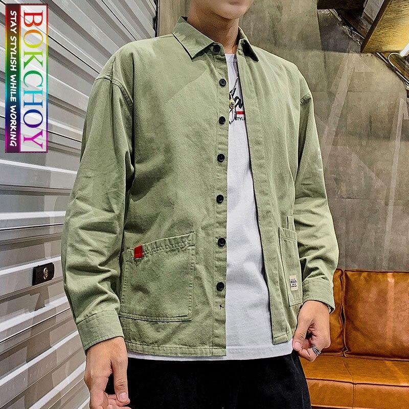 Safari estilo vintage camisa de manga comprida masculina, 2019new, cor sólida, algodão, roupas de trabalho, bokchoy-fique à moda durante o trabalho