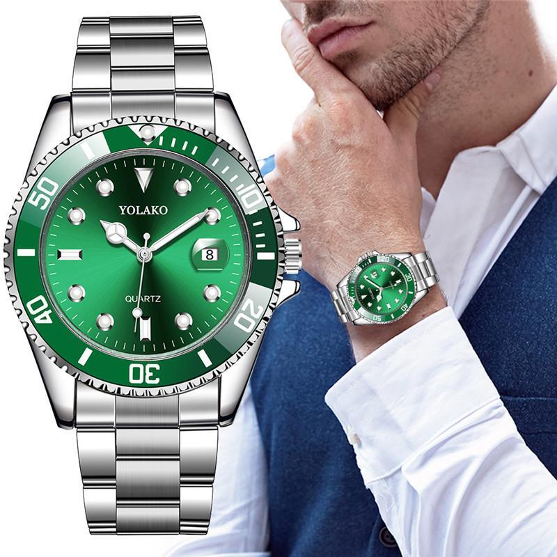 Relojes de pulsera YOLAKO clásicos de acero inoxidable con calendario de cuarzo para Hombre
