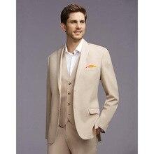 Кремовый мужской костюм в британском стиле, приталенный смокинг, мужской свадебный костюм, пиджак, брюки, жилет, комплект из 3 предметов, бле...