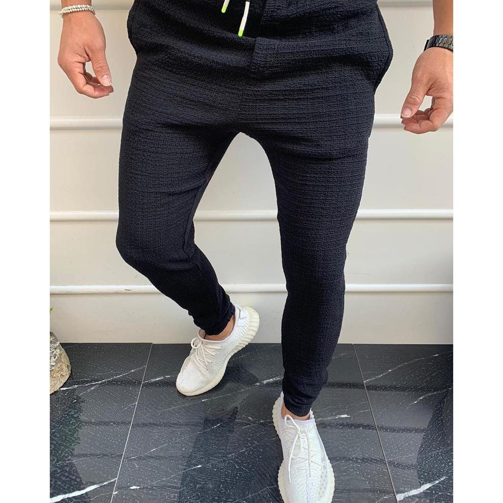 2020 pantalones casuales para hombre, pantalones de calle para correr, pantalones de verano Social para hombre, Hip Hop Slim FitSoft, ropa negra sólida de fiesta, elástica