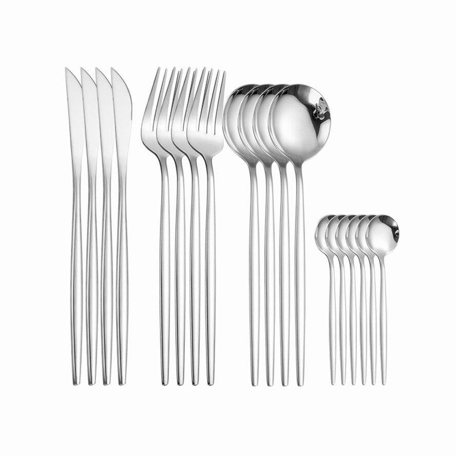 طقم أدوات مائدة من الفولاذ المقاوم للصدأ 18/10 ، فضي ، 16 قطعة ، أدوات مائدة ، خدمة عشاء ، سكين ، شوكة ، ملعقة ، آمنة ، غسالة أطباق