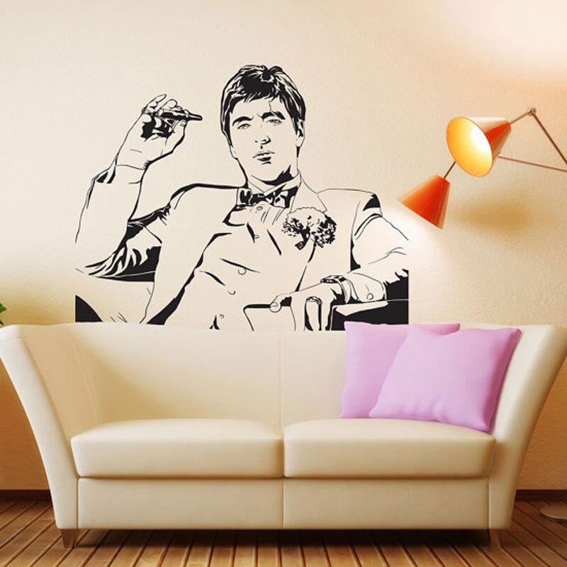 Pegatina de pared de la película Tony Montana de Scarface, pegatina decorativa, póster de vinilo, arte de pared, pegatina de pared Scarface para patrón de pared 3617