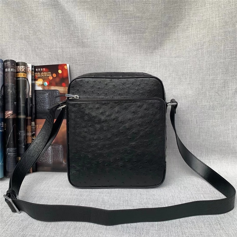 حقيبة جلد النعام الأصلية للرجال ، حقيبة كتف صغيرة غير رسمية بغطاء ، حقيبة ساعي