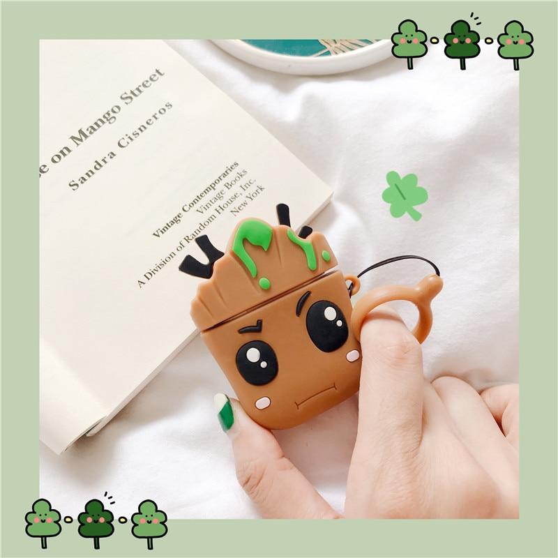 Funda protectora para auriculares 3D dibujo bonito Marvel Groot Trees bebé para Apple Airpods 1/2