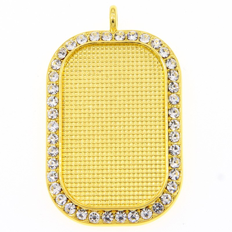 30PCS 18x37mm Pendant Base With Rhinestone Rectangle Cameo Bezel Alloy Tray For Necklace Keychain DIY Jewelry Making Components