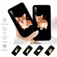 cute cartoon corgi dog black matte mobile phone case cover for samsung j4 j6 j5 j7 2016 note 5 8 9 10 lite plus 20 ultra