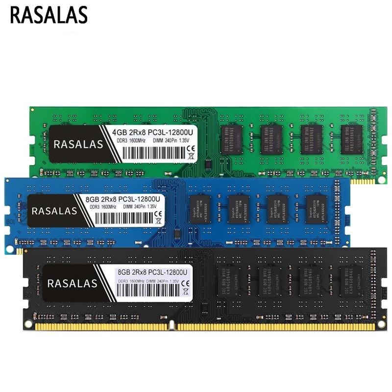 Rasalas Memoria Ram DDR3 DDR3L 4G 8G 1600Mhz 1333, 1066, 8500, 10600,...
