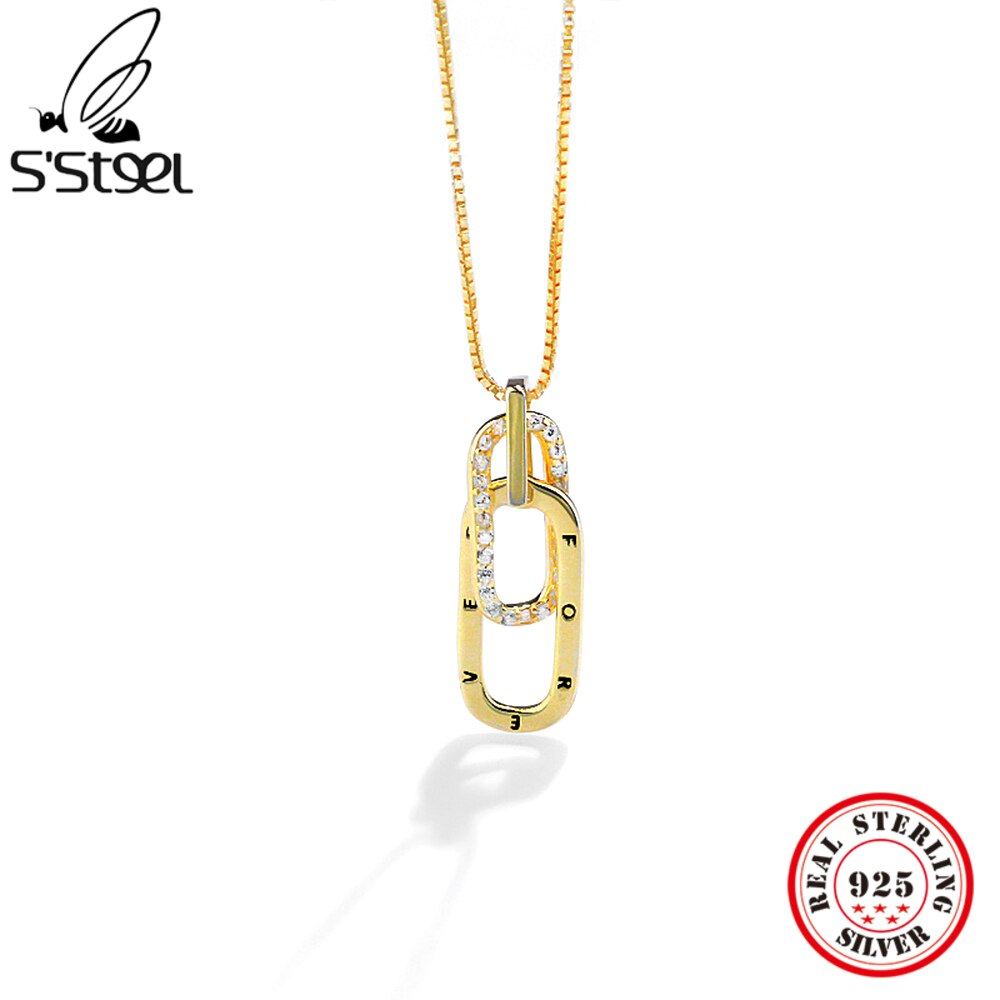 S'STEEL 925 Sterling Silver Pendants And Necklaces For Women Zircon Design Minimalist Chains Vintage