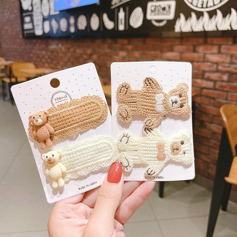 New Little Bear Cute Hair Pins for Girls Handmade Cotton Kinted Hairpins Sweet Barrettes Women Korean Lovely Hair Accessories yuki araki sew sweet handmade clothes for girls